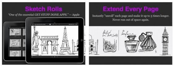 Die besonders einfache Bedienung und das vergrößerte Zeichenbrett sind die Stärken von Sketch Roll für das iPad