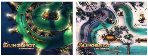 Slingshot Racing ist ein grafisch ungewöhnliches Reaktionsrennspiel, in dem Du einen Arcade Racer über ein Seil durch die Kurven driften lassen kannst.