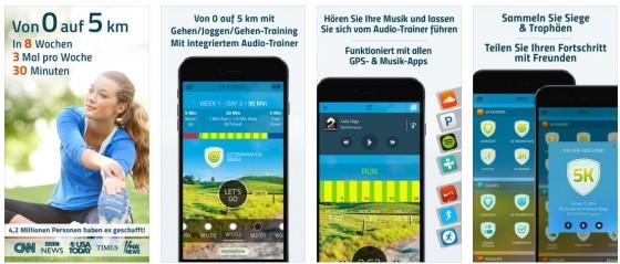Die App 5K Runner ist nicht nur sehr schön gestaltet, sie bringt auch alles mit, um aus einem Couch-Potato einen Läufer zu machen.