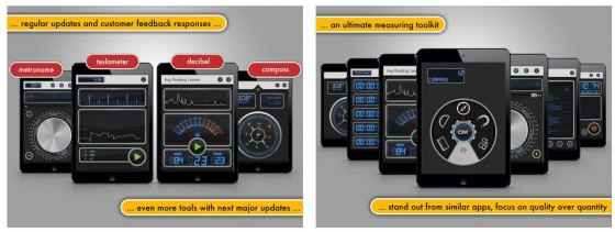 Sehen ziemlich professionell aus: die 12 Messinstrumente, die Multi Measures in einer App vereinigt.