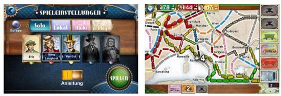 Auf der europäischen Karte ist schon bald ein ordentlicher Zugverkehr zu sehen, sichere Dir den größten Teil und entscheide bei jedem Spielzug richtig, um einen Vorteil gegenüber Deinen Gegnern zu erlangen.