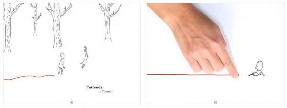 Mit dem Finger nimmt man immer wieder den roten Faden auf und verhilft so der Lebensgeschichte zu einer Fortsetzung.