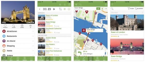 Die Reiseführer-Vollversion für die Stadt London für iPhone und iPod Touch  bietet die Möglichkeit, eine Reise vorzuplanen und die Augmented Reality Ansicht, bei der man die Besichtigungsziele in der Nähe angezeigt bekommt. Aufgrund der integrierten Offline-Karten kann man die Reiseführer auch ohne Internetzugang vor Ort im vollen Umfang nutzen.