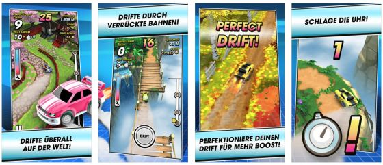 Mit Mega Drift bekommst Du ein nettes Reaktionsspiel, das man auch ohne In-App-Käufe gut spielen kann.