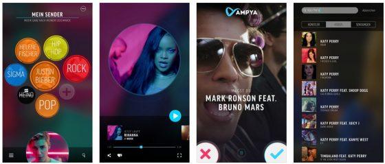 Mit AMPYA (früher hieß die App Putpat) kannst Du Dir Dein eigenes Musikfernsehen zusammenstellen.