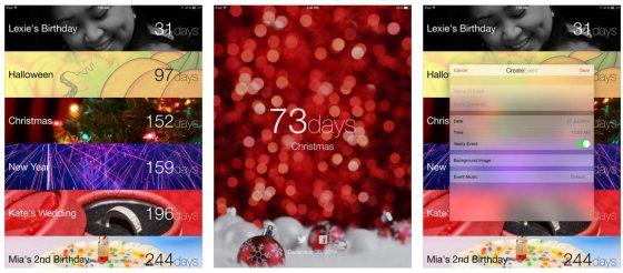Leider enthält die App keine Bilder für wiederkehrende Feiertage oder ähnliches, auch die den Einträgen zugeordnete Musik muss man bereits auf dem Gerät haben - so wird die Einstellung dann etwas langwieriger.