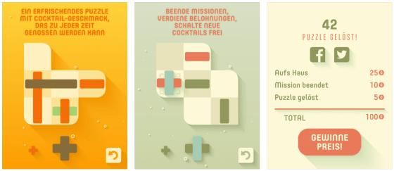 Durch die App Store veröffentlichten Screenshots erwartet man eigentlich Levelpakete, die nach Cocktails benannt sind. Offenbar haben die Entwickler den Bezug zum Alkohol aber herausgenommen - geblieben sind nur ein paar Kohlensäurebläschen...