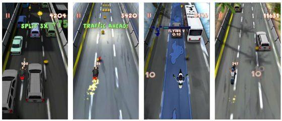 Du steuerst Dein Motorrad durch leichte Bewegung Deines Gerätes. Das ist recht einfach bei normaler Fahrt, bei einem Wheelie schon etwas schwieriger...