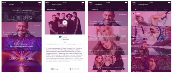 Nein, Euer Display ist nicht plötzlich kaputt oder verstellt, die Bilder in der Eurovisions-App wurden mit Filtern auf die Eurovisions-Logofarbe getrimmt.