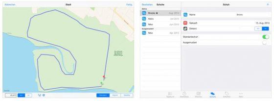 Mit dem Läufertagebuch kann man auch Laufstrecken planen und seine Laufschuhe verwalten.