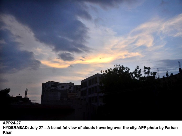 HYDERABAD: July 27 – A beautiful view of clouds hovering over the city. APP photo by Farhan Khan