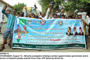 HYDERABAD: August 15 – Minority youngsters holding a protest against Indian government and in favour of Kashmiri people outside Press Club. APP photo by Akram Ali
