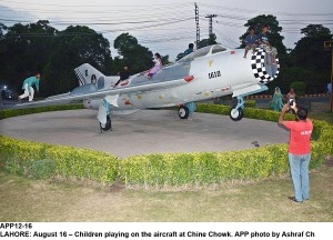 LAHORE: August 16 – Children playing on the aircraft at Chine Chowk. APP photo by Ashraf Ch