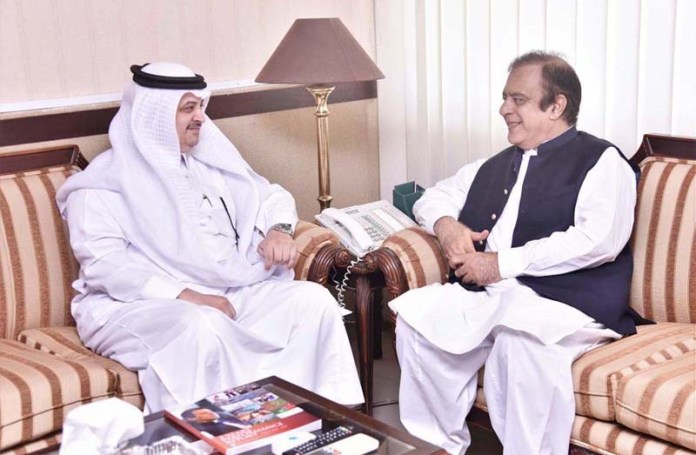 ISLAMABAD: August 21 - Senator Shibli Faraz Federal Minister for Information and Broadcasting in a meeting with H.E Nawaf Bin Saeed Al-Malki, Saudi Ambassador. APP