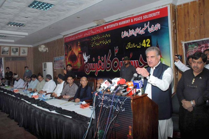 MULTAN: August 29 - Foreign Minister Makhdoom Shah Mahmood Hussain Qureshi addressing 42th Hussainia Conference at Raza hall. APP photo by Safdar Abbas