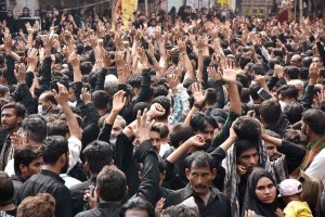 LAHORE: August 29 - A large number of mourners attending the procession of 9th Muharram-ul-Haram. Muharramul Harram known as the first month of the Islamic calendar and the mourning month in remembrance of the martyrdom (Shahadat) of Hazrat Imam Hussain (AS), the grandson of the Holy Prophet Mohammad (SAWW).APP Photo by Mustafa Lashari