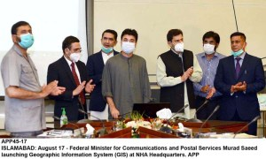 ISLAMABAD: August 17 - Federal Minister for Communications and Postal Services Murad Saeed launching Geographic Information System (GIS) at NHA Headquarters. APP