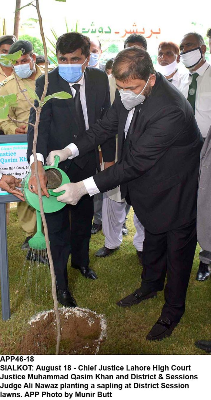 SIALKOT: August 18 - Chief Justice Lahore High Court Justice Muhammad Qasim Khan and District & Sessions Judge Ali Nawaz planting a sapling at District Session lawns. APP Photo by Munir Butt