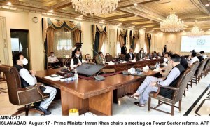 ISLAMABAD: August 17 - Prime Minister Imran Khan chairs a meeting on Power Sector reforms. APP