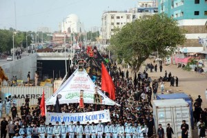 KARACHI: August 29 – A large number of people attending the 9th Muharram procession at M A Jinnah Road. Muharram, the first month of the Islamic calendar, is a month of mourning for Shiites in remembrance of the death of Hussein, the grandson of the Prophet Muhammad, at the Battle of Karbala in present-day Iraq in the 7th century. APP photo by M Saeed Qureshi