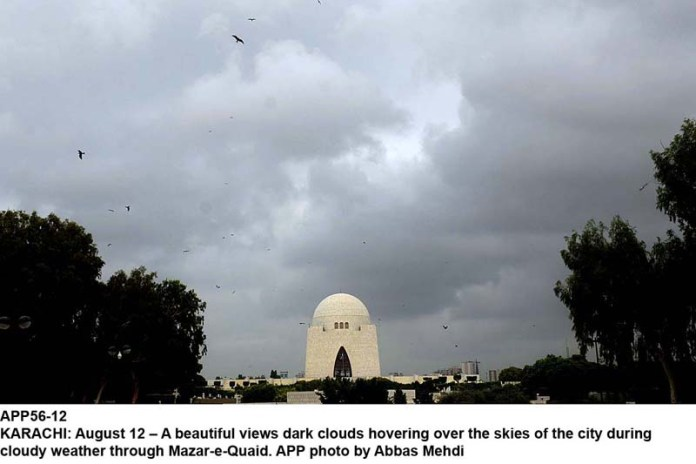 KARACHI: August 12 – A beautiful views dark clouds hovering over the skies of the city during cloudy weather through Mazar-e-Quaid. APP photo by Abbas Mehdi