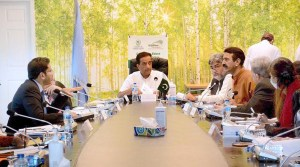 ISLAMABAD: August 27 – Special Assistant to PM Malik Amin Aslam chairs a high-level meeting on state of wildlife in Pakistan and Conservation measures at the Ministry of Climate Change. APP