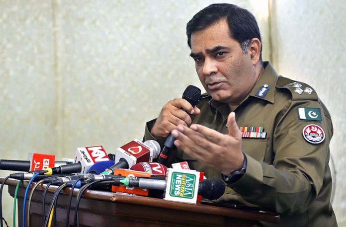 RAWALPINDI: September 08 - Regional Police Officer Rawalpindi Imran Ahmar speaks during Meet the Press an introductory meeting with all electronic, print and photo journalists. APP photo by Abid Zia