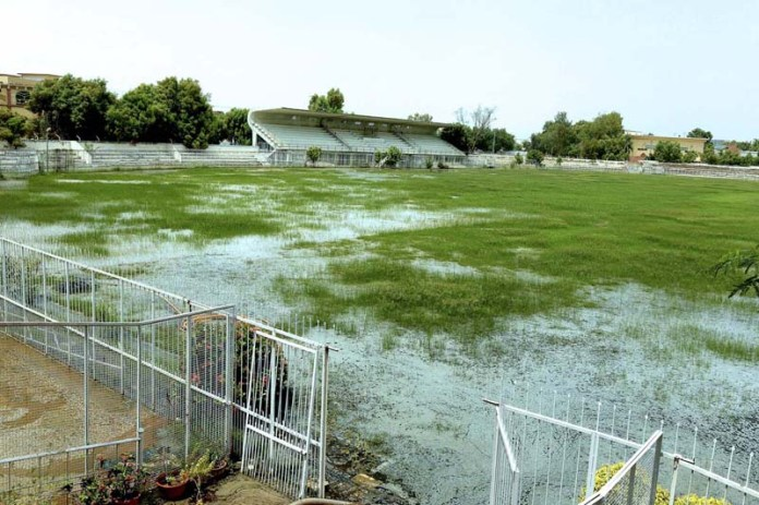 HYDERABAD: September 05 – A view of rain water accumulated in Niaz Stadium. APP photo by Akram Ali
