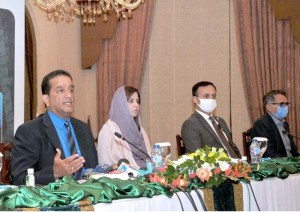 ISLAMABAD; September 21- Special Assistant to Prime Minister / Federal Minister on Climate Change Malik Amin Aslam Khan and Minister of State for Climate Change Ms. Zartaj Gull address the media regarding launching ceremony of the letter of signing(LoS) for the third party Monitoring of the Prime Minister, flagship Ten Billion Tree Tsunami programme (TBTTP). APP photo by Saeed-ul-Mulk