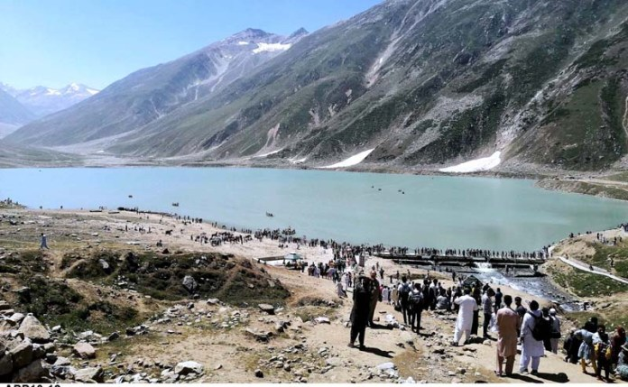 NARAN: September 19 - A large number of people visiting at Saif-ul-Malook Lake. Saif-ul-Malook is a mountainous lake located at the northern end of the Kaghan Valley, near the town of Naran in the Saiful Muluk National Park. At an elevation of 10,578 feet above sea level, and is one of the highest lakes in Pakistan. APP photo by Qasim Ghauri