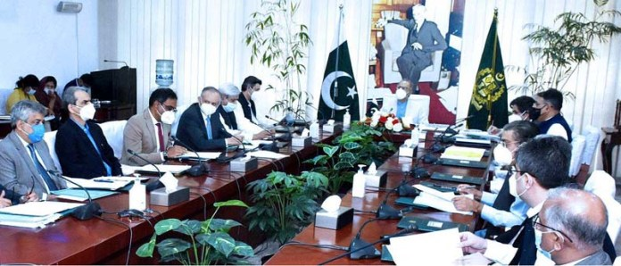 ISLAMABAD: September 17 – Adviser to the Prime Minister on Finance and Revenue, Dr. Abdul Hafeez Shaikh chairing the meeting of the Economic Coordination Committee (ECC) of the Cabinet. APP