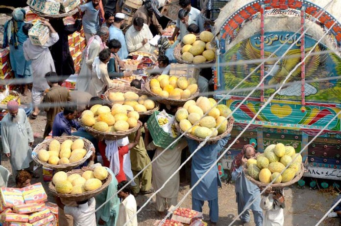 LAHORE: September 27 - Labourers busy in unloading seasonal fruit (Garma) from delivery truck at fruit market. APP photo by Ashraf Ch