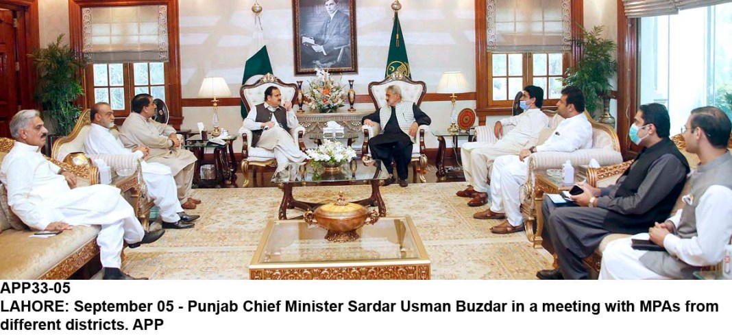 LAHORE: September 05 - Punjab Chief Minister Sardar Usman Buzdar in a meeting with MPAs from different districts. APP