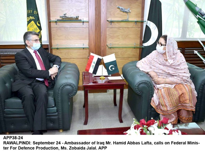 RAWALPINDI: September 24 - Ambassador of Iraq Mr. Hamid Abbas Lafta, calls on Federal Minister For Defence Production, Ms. Zobaida Jalal. APP