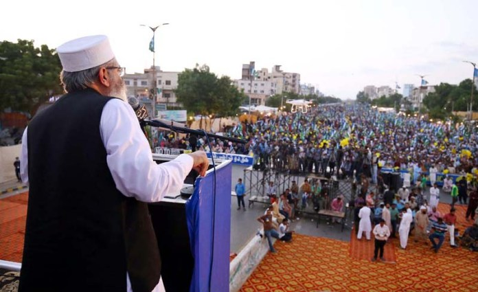 KARACHI: September 27 - Ameer Jamat e Islami Senator Siraj ul haq addressing to the participants of Huqooq E Karachi March. APP photo by M Saeed Qureshi