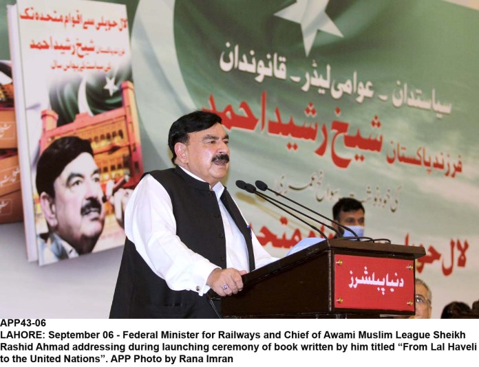"""LAHORE: September 06 - Federal Minister for Railways and Chief of Awami Muslim League Sheikh Rashid Ahmad addressing during launching ceremony of book written by him titled """"From Lal Haveli to the United Nations"""". APP Photo by Rana Imran"""