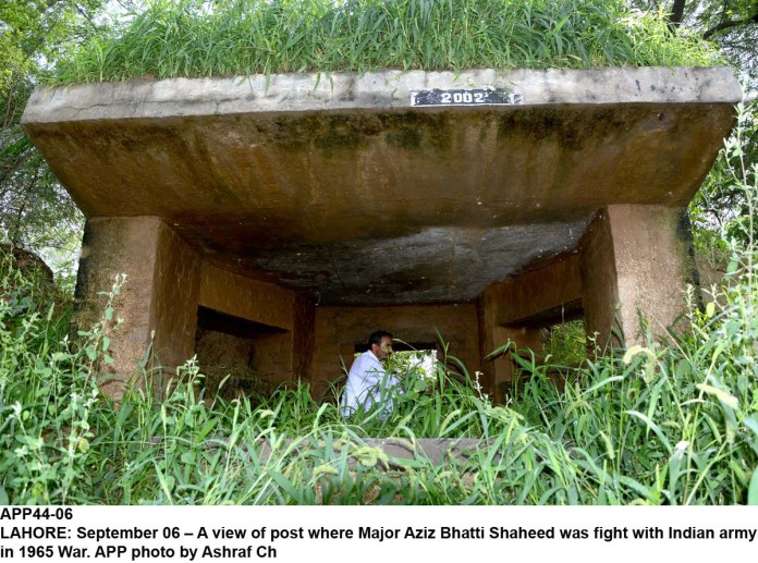 LAHORE: September 06 – A view of post where Major Aziz Bhatti Shaheed was fight with Indian army in 1965 War. APP photo by Ashraf Ch