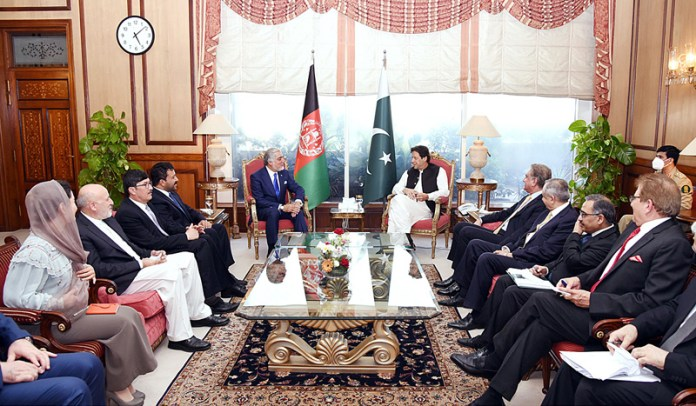 ISLAMABAD: September 29 - Prime Minister Imran Khan in a meeting with Dr. Abdullah Abdullah, Chairman High Council for National Reconciliation of Afghanistan. APP