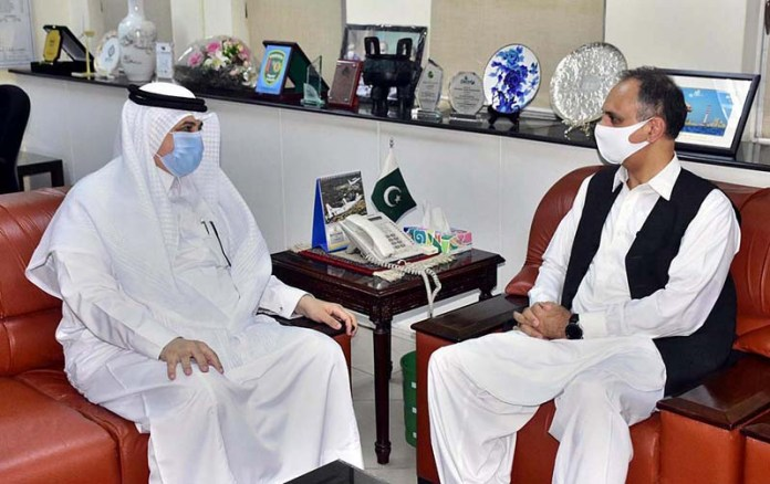 ISLAMABAD: September 01 - Federal Minister for Energy Omar Ayub Khan in a meeting with Nawaf Bin Saeed Ahmed Al-Malki Ambassador of Kingdom of Saudi Arabia in his office. APP