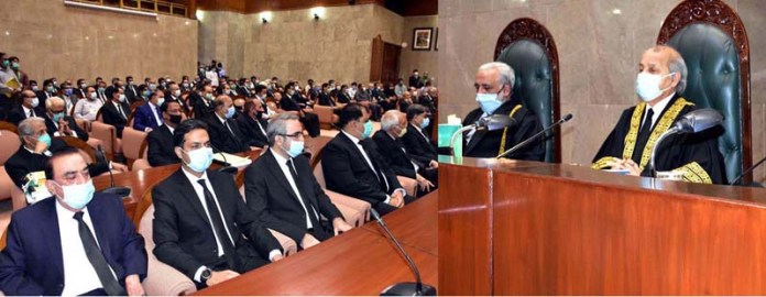 ISLAMABAD: September 14 - The Honourable Chief Justice of Pakistan, Mr. Justice Gulzar Ahmed presiding over the ceremony of New Judicial Year 2020-2021 at Supreme Court of Pakistan. APP