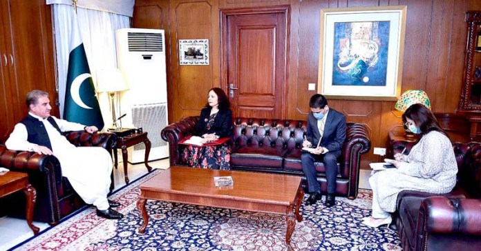 ISLAMABAD: September 03 - Outgoing ambassador of Nepal Sewa Lamsal Adhikari paid a farewell call on Foreign Minister Makhdoom Shah Mahmood Qureshi at Ministry of Foreign Affairs. APP