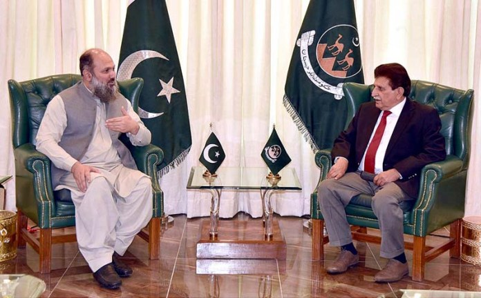 ISLAMABAD: September 28 – AJK Prime Minister Raja Farooq Haider calls on Balochistan Chief Minister Jam Kamal Khan at Chief Minister Secretariat. APP