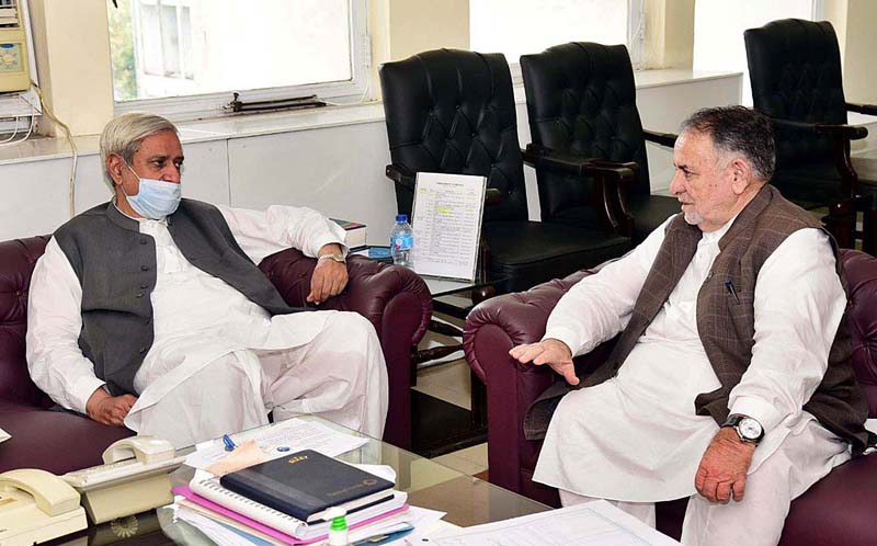 ISLAMABAD: September 02 - Minister for AJ&K Syed Shaukat Ali Shah called on Federal Minister for NFS&R Syed Fakhar Imam. APP