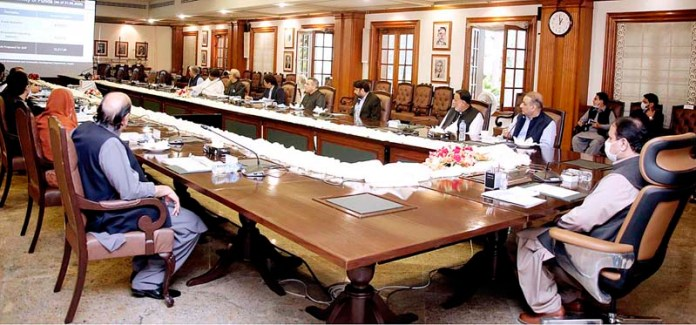 LAHORE: September 28 – Punjab Chief Minister Sardar Usman Buzdar chairs a meeting regarding Municipalities. APP