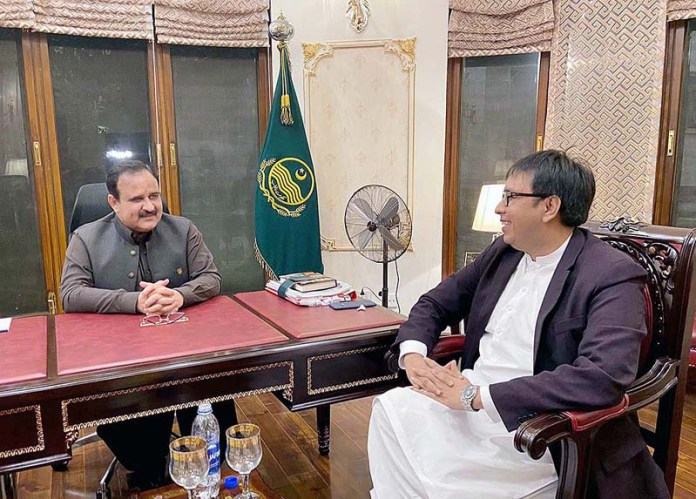 LAHORE: September 06 – Chief Minister Punjab Sardar Usman Buzdar meeting with Special Assistant to PM Dr. Shahbaz Gill. APP