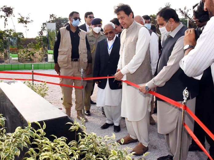 LAHORE: September 15 - Prime Minister Imran Khan performing the groundbreaking of Ravi Riverfront Urban Development project. APP