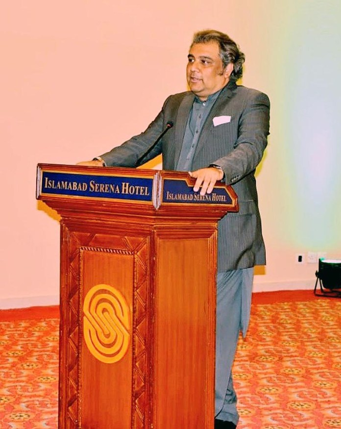 ISLAMABAD: October 28 - Federal Minister for Maritime Affairs, Syed Ali Haider Zaidi addressing the Ambassadors of European countries and sharing the blue economy initiatives of the incumbent government. APP