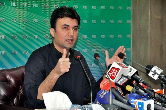 ISLAMABAD: October 25 - Federal Minister for Communication and Postal Services Murad Saeed addressing a press conference at PID Media Center. APP photo by Saleem Rana