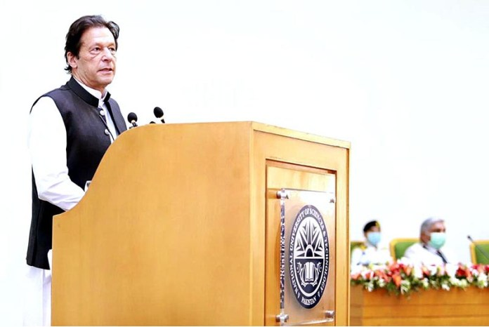 ISLAMABAD: October 16 – Prime Minister Imran Khan addressing students at National University of Science & Technology (NUST). APP