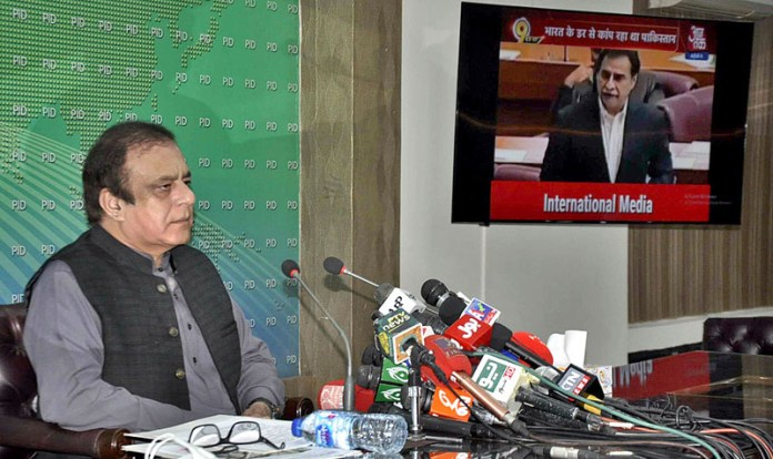 ISLAMABAD: October 31 - Federal Minister for Information and Broadcasting Senator Shibli Faraz addressing a press conference at PID Media Center. APP photo by Saleem Rana